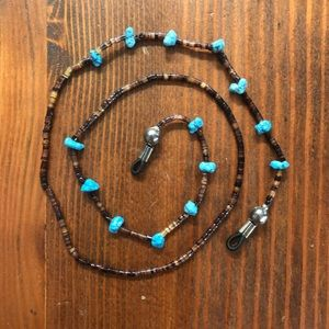 Vintage Accessories - Handmade Turquoise Silver GlassBead Glasses Chain